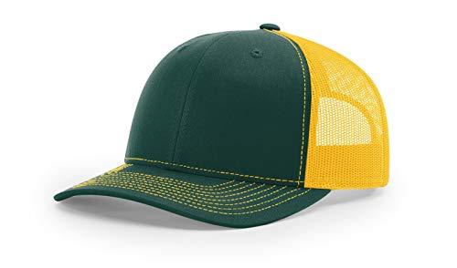 - Richardson 112 Mesh Back Trucker Cap Snapback Hat, Dark Green/Gold