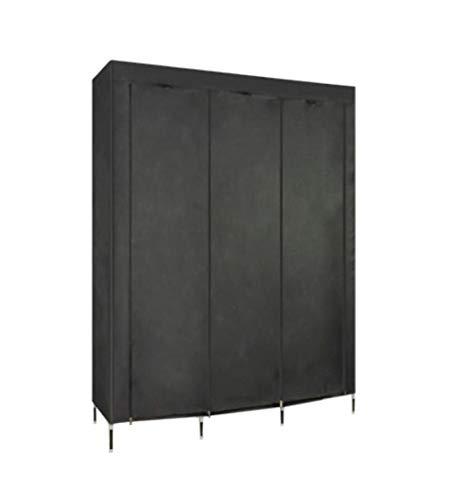(ALWUD Portable Wardrobe Clothes Storage Organizer, Non-Woven Fabric Closet Shelves with Hanging Rod Folding Closet,Black_67x50x17.7inch)
