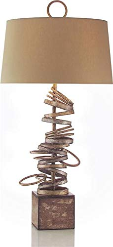 John Richard Table Lamp Stacked Rings Multistep Scorched Gold Brass Silv (Table Iron Lamp John)