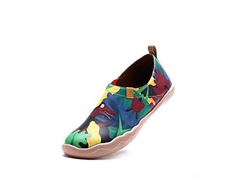 UIN La période jurassique Chaussures bateaux de cuir comfortable multicolore pour femme