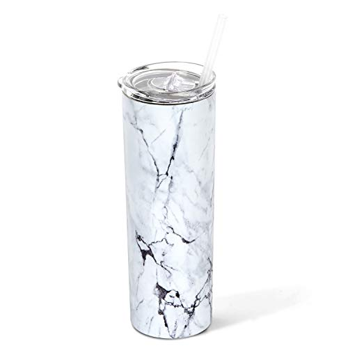 Stainless Steel Tumbler with Straw and Lid, Vacuum Insulated Double Wall Cup for Coffee, Tea, Beverages (Marble, 20 oz)