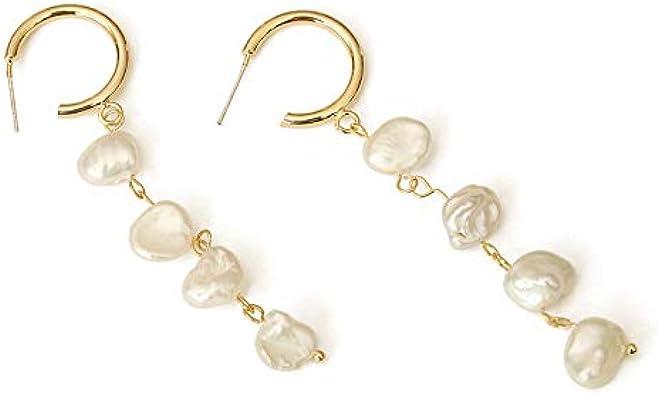 Pendientes de perlas con forma barroca pendientes de perlas largos con flecos retro femeninos para mujeres y niñas que usan a diario o fiestas