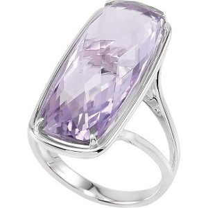 Rose De France Amethyst Quartz Antique Cushion Checkerboard Sterling Silver Ring, Size 6 to 7 by The Men's Jewelry Store