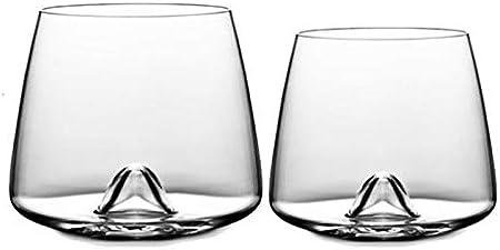 ATYBO Crystal Scotch Whisky Glass Rocks Vasos Vaso Eddy Bottom Swirl Diseñador Copa de Vino para BarWhisky Shot Glass, Crystal Eddy Glass
