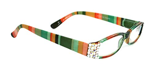 Envy, Narrow Women Reading Glasses Adorned with Clear + AB (Aurora Borealis) Crystals +1.25 +1.50 +1.75 +2.00 +2.25 +2.50 +2.75 +3.00 +3.50 +4.00 Orange Gold Green Stripes. NY Fifth Avenue. (Fifth Avenue Crystal Aurora)