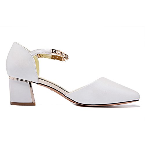 MAC Classic Party U Buckle Pumps Block Heel Trendy Ankle Womens White Strap Shoes Ydwqvd