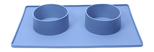 Large Dog Water Bowl Mat – No Slip – Easy Clean Up – Use for Food and Water (Gray)