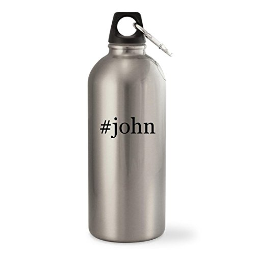#john - Silver Hashtag 20oz Stainless Steel Small Mouth Water Bottle
