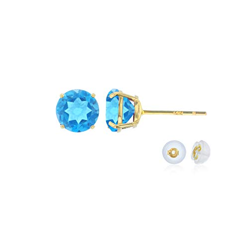 - Genuine 10K Solid Yellow Gold 4mm Round Natural Swiss Blue Topaz December Birthstone Stud Earrings