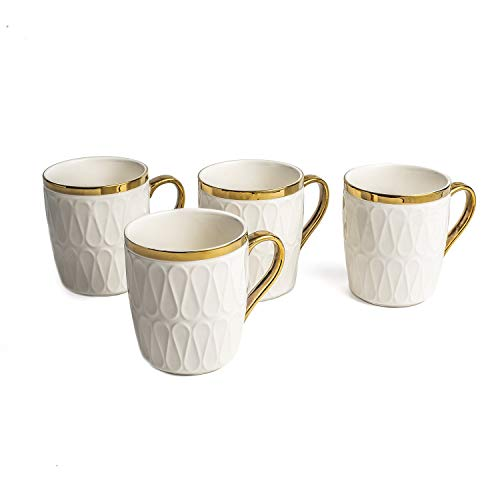 Yedi YCC753, 11 Oz Fine Porcelain Mug, Ceramic Teacup, Bone China Emma Collection White Cup for Tea or Coffee, Set of 4