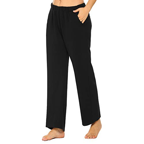 INVOLAND Womens Plus Size Solid Casual Pants Pull On Pants Elastic Waist Cotton Trouser Pockets