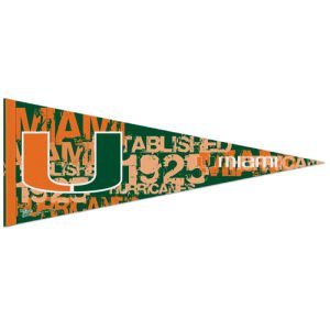WinCraft NCAA 72579091 University of Miami (Florida) Premium Pennant, 12