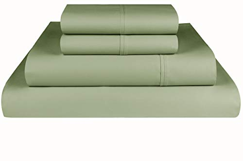 Threadmill Home Linen 600 Thread Count 100% Cotton Sheet Set, Sage Cotton Full Size Sheets, Luxury Bedding, 4 Piece Set, Cotton Bed Sheets, Solid Sateen Fits Mattress Up to 18'' Deep Pocket ()