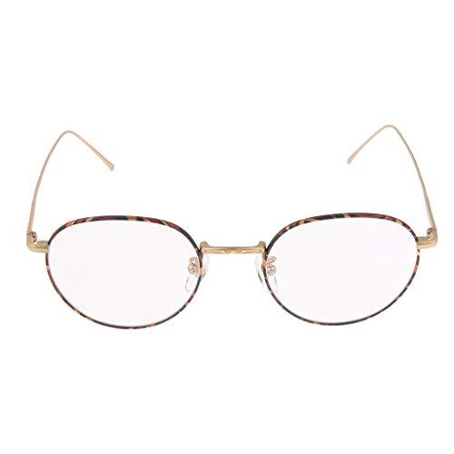 MagiDeal New Retro Round Metal Clear Lens Eyeglasses Frame for Myopia Glasses Eyewear Spectacles Men Women - Golden