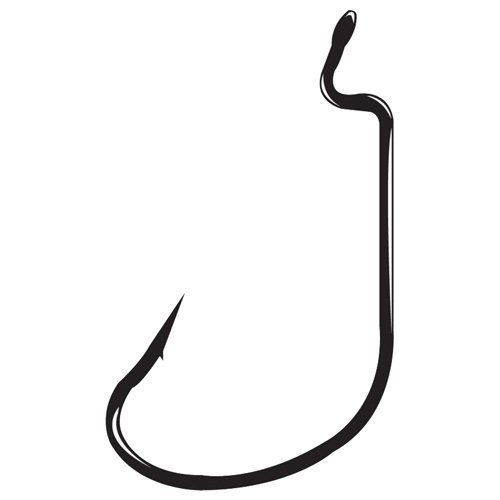 G-Lock Worm Hook, Size 4/0, Needle Point, Offset, Ringed Eye, NS Black, 5 per Pack
