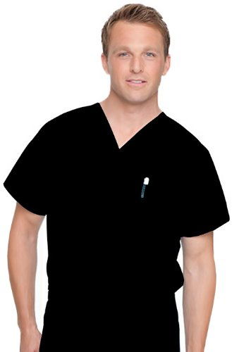 Landau Men's Size Unisex Scrub Top, Black, Medium Tall (Reversible Solid Scrub)