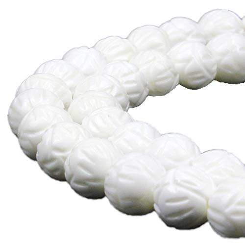 JARTC 7A Natural White Lotus Carving Shell Stone Buddha Prayer Beads for Jewelry Making DIY Bracelet Necklace (8mm)
