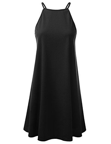 Doublju Square Neck Halter Neck Swing Dress For Women With Plus Size (Made In USA) BLACK (Black And Ivory Halter Dresses)