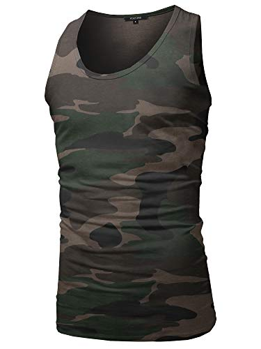 Mens Top Camouflage Tank - Youstar Casual Chest Pocket Sleeveless Muscle Tank Top Camouflage Size L