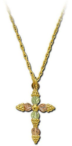 Landstroms 10k Black Hills Gold Cross Pendant Necklace with Leaves, 18
