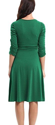 Mujer Elegante 4 Cóctel Vestido Manga Cuello Verde 3 V Retro Dress DELEY Casual Fiesta AwxqdgvE1A
