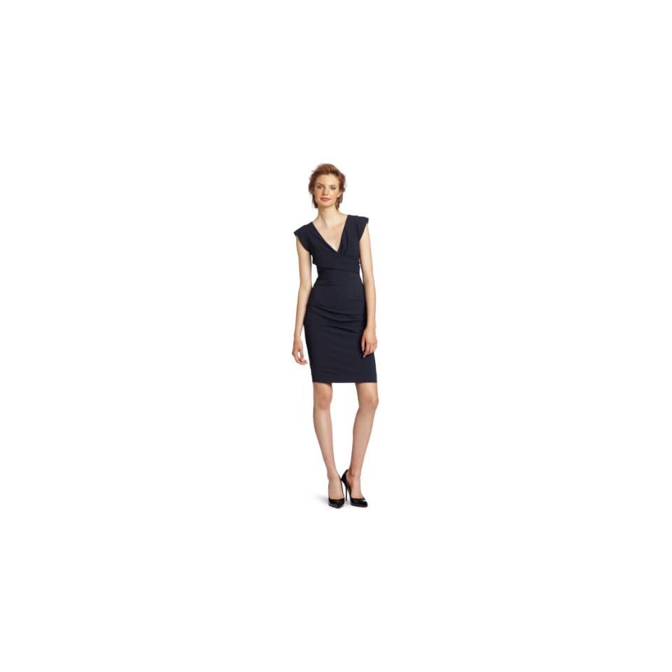 Nicole Miller Womens V Neck Cap Sleeve Dress, Smoke, 2