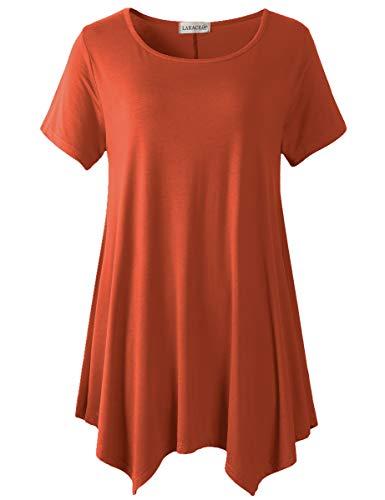 LARACE Plus Size Round Neck Flare Tunic Top for Leggings(5X, Dark Orange)