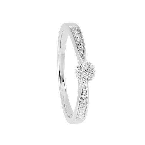 Diamond Line Damen-Diamant-Ring 375 Weißgold 15 Diamanten ca. 0,1ct. weiß Piqué (W-PI)