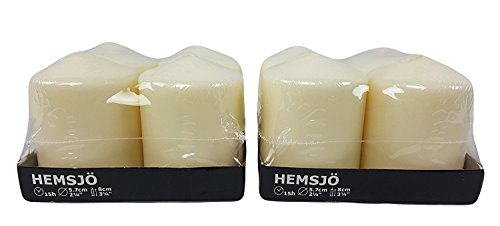 IKEA Hemsjo Candles - White Pillar - 4 Pack [2 Sets, used for sale  Delivered anywhere in USA