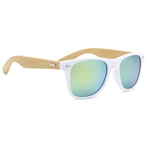 TIJN Fashion Square Bamboo Wood Mirrored Sunglasses for Men Women ()