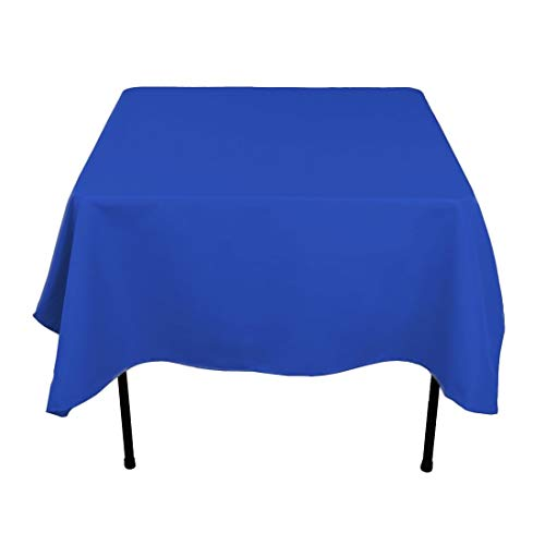 - Morlan Linens Plus Square Tablecloth for Square or Round Tables - 100% Polyester - Restaurant Quality - Great for Buffet Tables, Parties, Holiday Dinners, Weddings & More - Blue, 62 x 62 inches