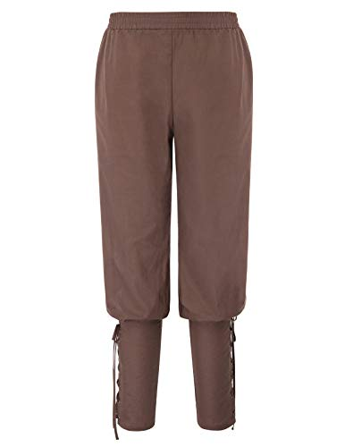 SCARLET DARKNESS Mens Renaissance Pants Pirate Ankle Banded Trousers Coffee ()