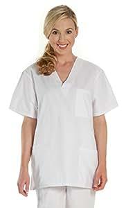 Prestige Medical 302-WHT-M Premium Five Pocket Unisex Scrub Top, White, Medium