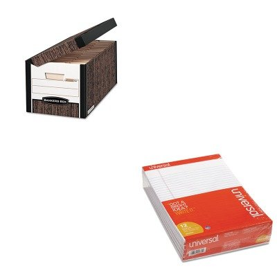 KITFEL00052UNV20630 - Value Kit - Bankers Box FastFold Flip Top File Storage Box (FEL00052) and Universal Perforated Edge Writing Pad (UNV20630) by Bankers Box
