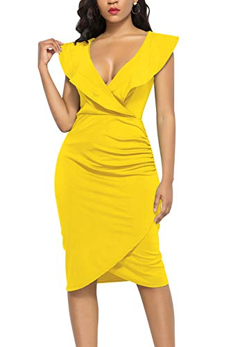 WIWIQS Women's Sexy V Neck Bodycon Sleeveless Ruffle Dress Front Slit Bandage Midi Club Dresses,Yellow,S