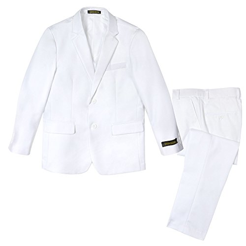 Spring Notion Big Boys' Two Button Suit White 14 Jacket and Pants]()