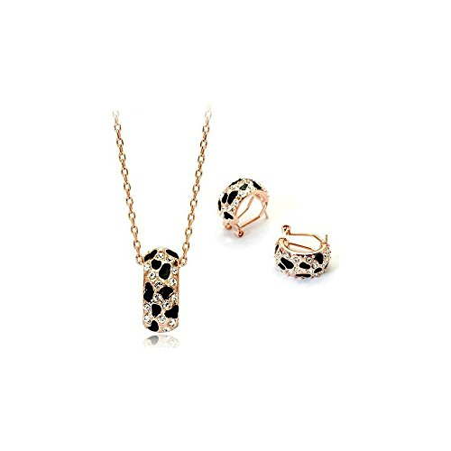 - Mall of Style Leopard Earrings Necklace - Animal Print Jewelry Set for Women (Panther) - 18K Rose Gold & Black