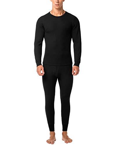 (LAPASA Men's Thermal Underwear Long John Set Waffle Knit Base Layer Top and Bottom M11 (X-Large, Waffle Knit Black) )