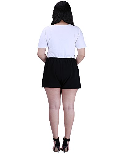 HDE Womens Plus Size Shorts Patterned Casual Pull On Elastic Waist Dress Shorts (Black, 2X) by HDE (Image #4)