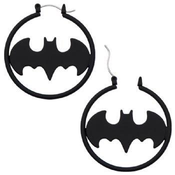 Batman Symbol Logo Hoop Ear Rings Pair Of Surgical Steel Earrings