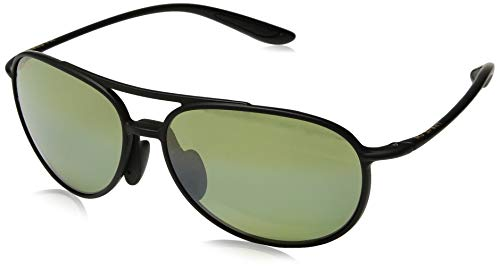 Maui Jim Alelele Bridge HT438-2M   Polarized Matte Black Aviator Frame Sunglasses, with with Patented PolarizedPlus2 Lens Technology