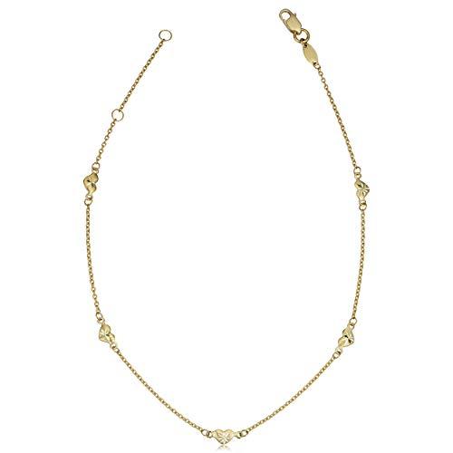 Heart Station Bracelet - Kooljewelry 10k Yellow Gold Heart Station Anklet (fits 9