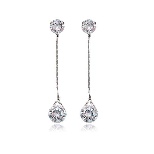 Crystal Linear Drop Earrings - Women's Sterling Silver Round Cubic Zirconia CZ Diamond Rhinestone Long Chain Dangle Earrings for Party Prom Bridal Drop Earring for Wedding Bride Bridesmaids ()