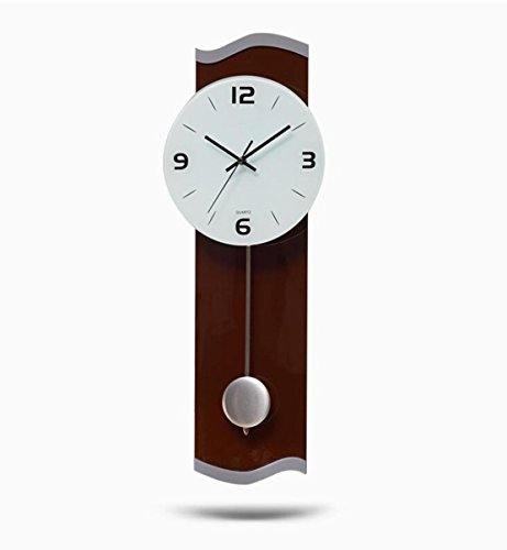 Ysayc Wall Clock Living Room Bedroom Personalized Decorative Wall Clock Modern Mute Pendulum Wall Clock , brown