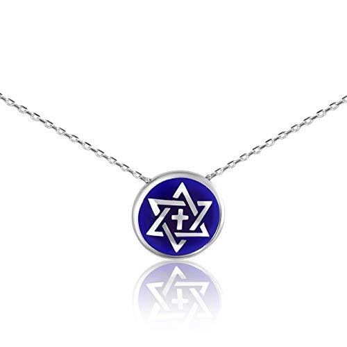 Cross and Jewish Star of David Blue Silver Charm