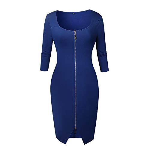 POQOQ Dresses Women Autumn Winter Sexy Zipper Office Wear Dress Evening Party L Blue