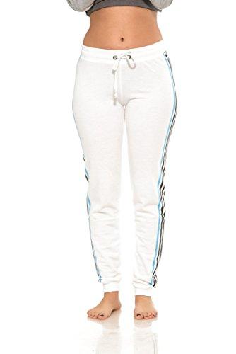 (Coco-Limon Women Regular & Plus-Size Jogger Sweatpants , Multi-Striped Leg,1X,White)