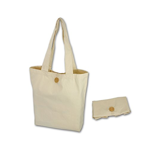 - Simple Ecology Organic Cotton Reusable Folding Tote with Loop & Button Closure - Natural 2 Pack (shopping & grocery bags, washable, foldable, craft & gift bag, handbag, handles, loop & button closure)