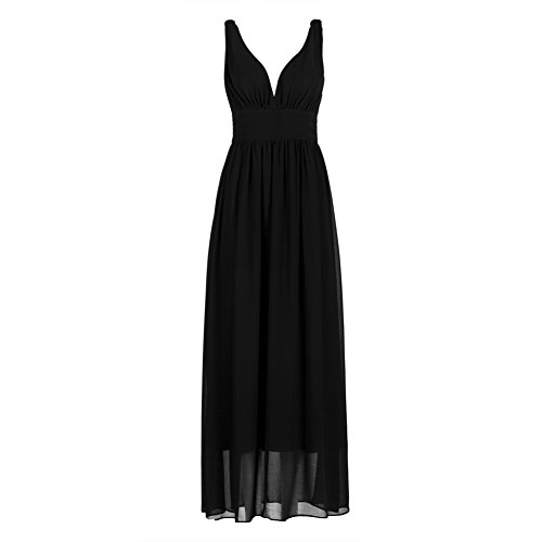 OThread Women's V-Neck High Ruched Waist Solid Color Chiffon Maxi Dress (Large, Black 1)
