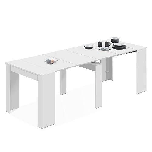 Habitdesign Mesa de Comedor, Consola, Mesa Extensible, Mesa para Salon recibidor o Cocina, Acabado en Blanco Brillo…